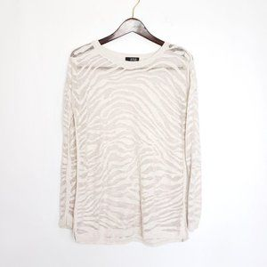 a.n.a. Tiger Striped Sheer Sweater Cream Large